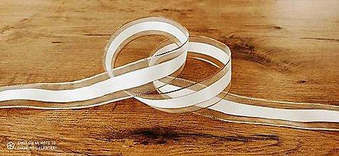 Galantéria - Ozdobná stuha 40 mm s drôtom - Bielo zlatá - 12598895_