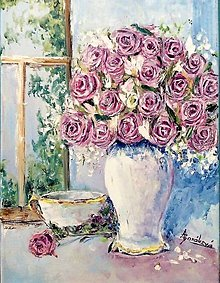 Obrazy - Zátišie s ružami - 12597725_