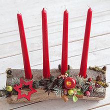 Dekorácie - Adventný svietnik na drevenom polienku - 12596170_