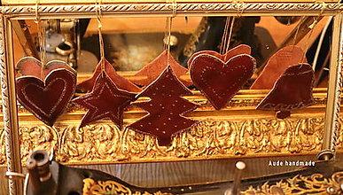 Dekorácie - Kožené ozdoby na stromček - 12598906_