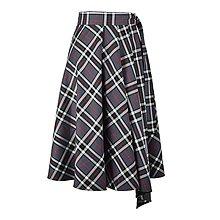 Sukne - ASTRID - áčková zavinovacia sukňa so skladmi a predným cípom (A4 - sivé káro) - 12595214_