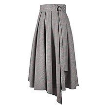 Sukne - ASTRID - áčková zavinovacia sukňa so skladmi a predným cípom (F3 - kohútia stopa s červenými prúžkami) - 12595277_