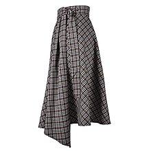 Sukne - ASTRID - áčková zavinovacia sukňa so skladmi a predným cípom (F4 - drobná hnedomodrá kocka) - 12595281_
