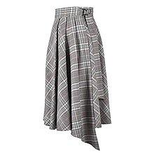 Sukne - ASTRID - áčková zavinovacia sukňa so skladmi a predným cípom (G1 - čiernobiele s oranžovým a bledomodrým prúžkom) - 12595293_