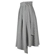 Sukne - ASTRID - áčková zavinovacia sukňa so skladmi a predným cípom (G3 - kohútia stopa) - 12595299_