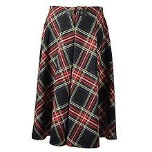 Sukne - AILI - midi sukňa s prackou (Čiernočervené káro) - 12595436_