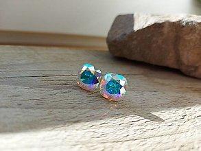 Náušnice - Swarovski cushion crystal AB - 12600083_