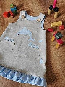 Detské oblečenie - Detská šatová suknička ľanová - delfínik - 12595937_