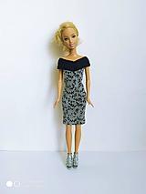 Hračky - Šaty s čiernymi lístkami pre Barbie - 12594981_