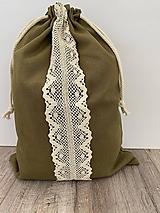 Úžitkový textil - Podšité ľanové vrecko s bavlnenou krajkou - 12595308_