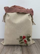 Úžitkový textil - Podšité vrecko na chlieb z ľanového plátna s ručnou výšivkou - 12595334_