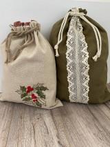 Úžitkový textil - Podšité vrecko na chlieb z ľanového plátna s ručnou výšivkou - 12595335_