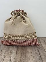 Úžitkový textil - Podšité vrecko na chlieb z ľanového plátna s jutovou stuhou a farebným vzorom - 12595388_