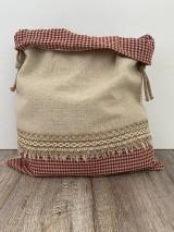 Úžitkový textil - Podšité vrecko na chlieb z ľanového plátna s jutovou stuhou a farebným vzorom - 12595389_