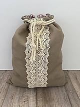 Úžitkový textil - Vrecko na chlieb z ľanového plátna s bavlnenou krajkou a farebným vzorom - 12595442_