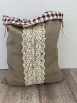 Úžitkový textil - Vrecko na chlieb z ľanového plátna s bavlnenou krajkou a farebným vzorom - 12595444_