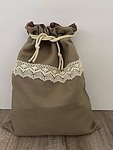 Úžitkový textil - Vrecko na chlieb z ľanového plátna s bavlnenou krajkou a farebným vzorom - 12595468_