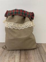 Úžitkový textil - Vrecko na chlieb z ľanového plátna s bavlnenou krajkou a farebným vzorom - 12595469_
