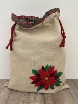 Úžitkový textil - Podšité vrecko na chlieb z ľanového plátna s ručnou výšivkou - 12595488_