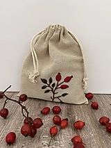 Úžitkový textil - Vrecúško z ľanového plátna s ručnou výšivkou - 12595573_