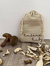 Úžitkový textil - Vrecúško z ľanového plátna s ručnou výšivkou (huby (výšivka textu)) - 12595574_