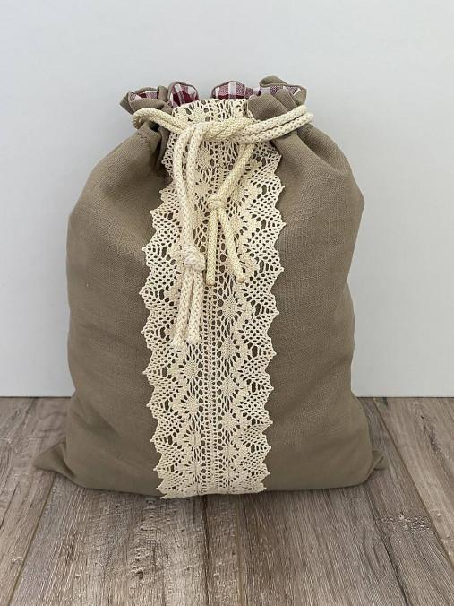 Vrecko na chlieb z ľanového plátna s bavlnenou krajkou a farebným vzorom