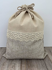 Úžitkový textil - Podšité ľanové vrecko s bavlnenou krajkou - 12595249_
