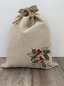 Úžitkový textil - Podšité vrecko na chlieb z ľanového plátna s ručnou výšivkou - 12595332_