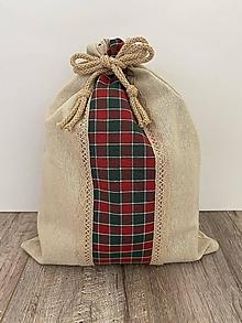 Úžitkový textil - Vrecko na chlieb z ľanového plátna s bavlnenou krajkou a farebným vzorom - 12595357_