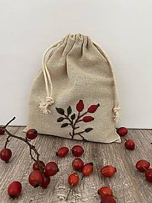 Úžitkový textil - Vrecúško z ľanového plátna s ručnou výšivkou (šípky (výšivka obrázku)) - 12595573_