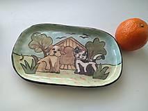 Nádoby - keramika tácka psík s mačičkou ... - 12597270_