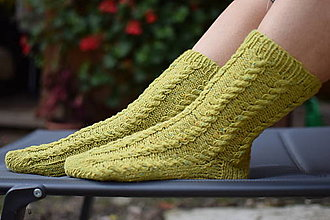 Obuv - pistáciové osmičkové merino ponožky ( v.37-38) - 12595329_