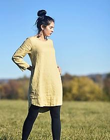 Šaty - lněné šaty hladké Pískové - 12600242_