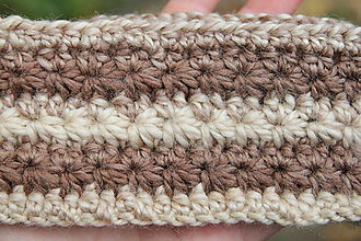 Ozdoby do vlasov - háčkovaná čelenka v zemitých farbách - 12600380_