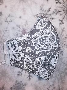 Rúška - Dámske rúško Elegancia sivá s antibakteriálnou bavlnou - 12602342_
