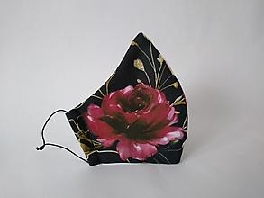 Rúška - Dizajnové rúško romance black prémiová bavlna antibakteriálne s časticami striebra dvojvrstvové tvarované - 12600985_