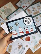 Papiernictvo - Vianočná pohľadnica Zvieratká - 12605720_