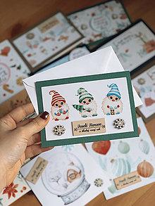 Papiernictvo - Vianočná pohľadnica Trpaslíkovia - 12605715_