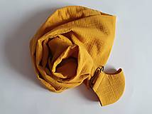 Šály - Set: TUNELOVÝ NÁKRČNÍK A RÚŠKO (horčicovo žltá farba) - 12601816_