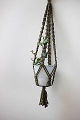 Dekorácie - makramé záves na kvetináč olivový - 12601645_