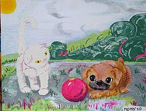 Obrázky - Mačiatko, šteniatko a lopta -- olej, olejový pastel a olejová pastelka - 12604673_