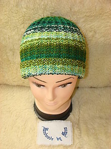 Čiapky - Ručne pletená čiapka / pestrofarebná / zelená - 12602174_