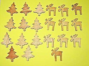 Polotovary - Drevené vianočné ozdoby stromček, sobík - sada 24 kusov - 12600593_
