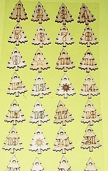 Polotovary - Drevené vianočné stromčeky, adventný kalendár - 28 kusov - 12600612_