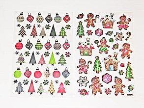 Polotovary - Vianočné nálepky - stromčeky, perníkové domčeky - 12600617_