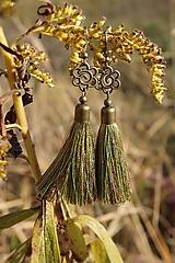 Náušnice - Náušnice strapcové zelené - 12604887_
