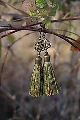 Náušnice - Náušnice strapcové zelené - 12604905_