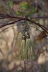 Náušnice - Náušnice strapcové zelené - 12604926_