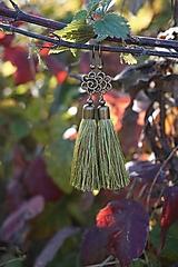 Náušnice - Náušnice strapcové zelené - 12604996_