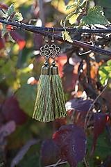 Náušnice - Náušnice strapcové zelené - 12605009_